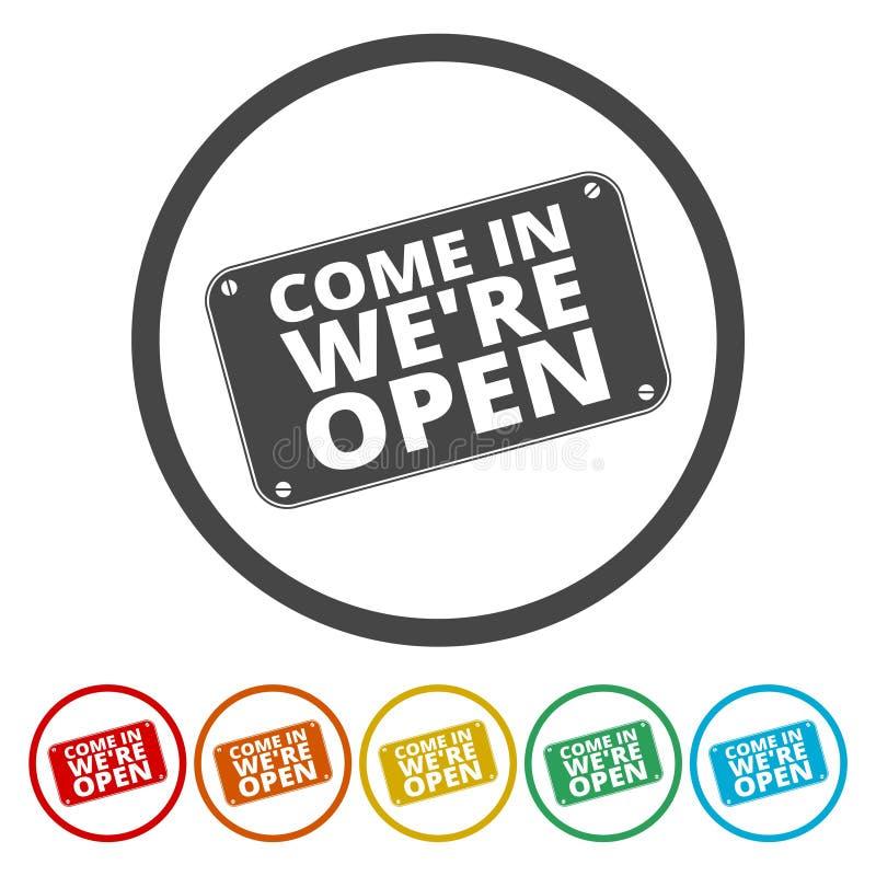 Ελάτε μας ` σχετικά με το ανοικτό σημάδι απεικόνιση αποθεμάτων