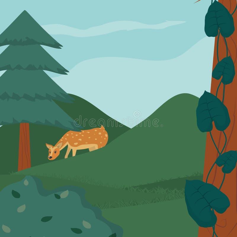 Ελάφια κουταβιών στο δάσος απεικόνιση αποθεμάτων