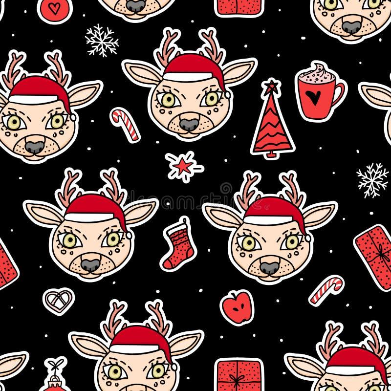 Ελάφια στο καπέλο Διανυσματικό άνευ ραφής σχέδιο Χαρούμενα Χριστούγεννας Οι διακοπές δίνουν το συρμένο σχέδιο υποβάθρου αυτοκόλλη ελεύθερη απεικόνιση δικαιώματος