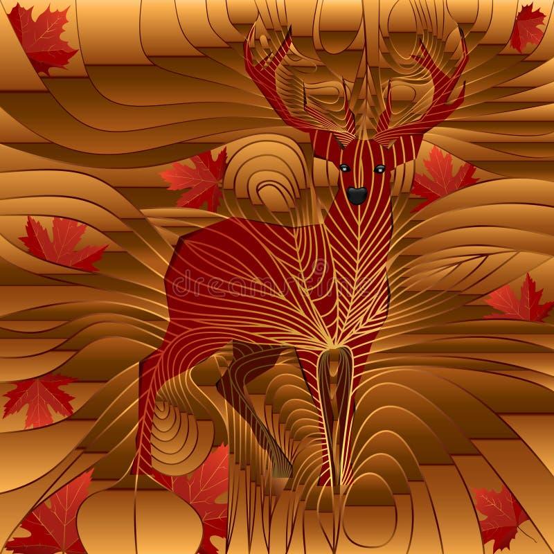 Ελάφια του φθινοπώρου και leafes του σφενδάμνου διανυσματική απεικόνιση