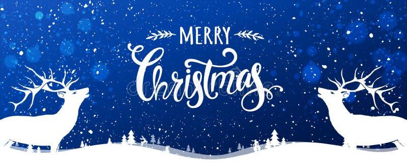 Ελάφια Χριστουγέννων με τη Χαρούμενα Χριστούγεννα τυπογραφική στο μπλε υπόβαθρο με το χειμερινό τοπίο με snowflakes, φως, αστέρια απεικόνιση αποθεμάτων