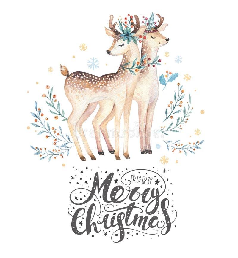 Ελάφια watercolor Χριστουγέννων Χαριτωμένη δασική ζωική απεικόνιση Χριστουγέννων παιδιών, νέα κάρτα έτους ή αφίσα Συρμένο χέρι απ ελεύθερη απεικόνιση δικαιώματος