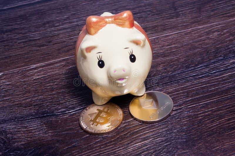 Ελάχιστα piggy στάση σε δύο χρυσά crypto νομίσματα στοκ φωτογραφίες
