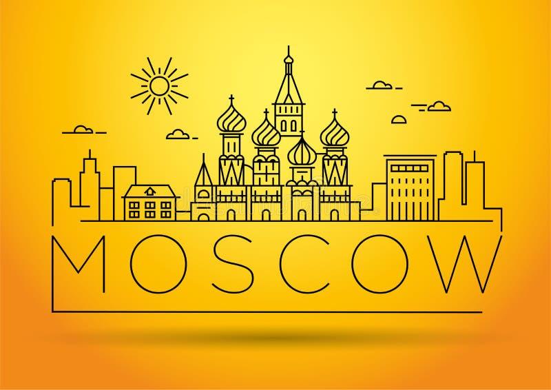 Ελάχιστος γραμμικός ορίζοντας πόλεων της Μόσχας με το τυπογραφικό σχέδιο απεικόνιση αποθεμάτων