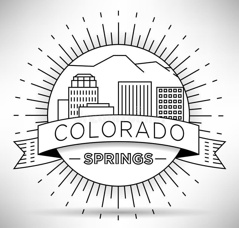 Ελάχιστος ορίζοντας πόλεων του Colorado Springs γραμμικός με το τυπογραφικό σχέδιο διανυσματική απεικόνιση