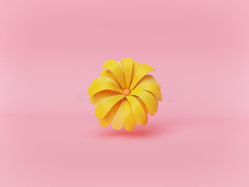 Ελάχιστο κίτρινο λουλούδι που απομονώνεται στο ρόδινο υπόβαθρο κρητιδογραφιών r ελεύθερη απεικόνιση δικαιώματος