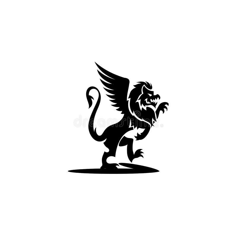 Ελάχιστο λογότυπο της μαύρης διανυσματικής απεικόνισης griffin ελεύθερη απεικόνιση δικαιώματος