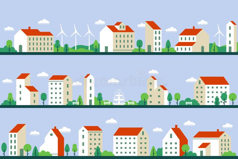 Ελάχιστο πανόραμα πόλεων Townhouses κτήρια, townscape και εικονική παράσταση πόλης που χτίζουν τη γεωμετρική επίπεδη διανυσματική διανυσματική απεικόνιση