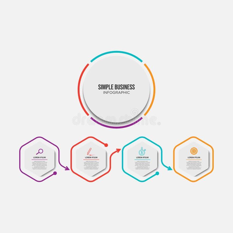 Ελάχιστο infographic πρότυπο 4 υπόδειξης ως προς το χρόνο επιλογές ή βήματα διανυσματική απεικόνιση