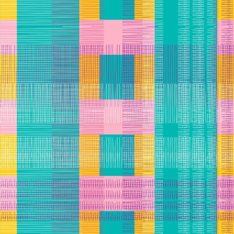 ελέγξτε το άνευ ραφής σχέδιο με τα punchy χρώματα κρητιδογραφιών Υπόβαθρο σχεδίων υλοτόμων για το υφαντικό διάνυσμα τυπωμένων υλώ απεικόνιση αποθεμάτων