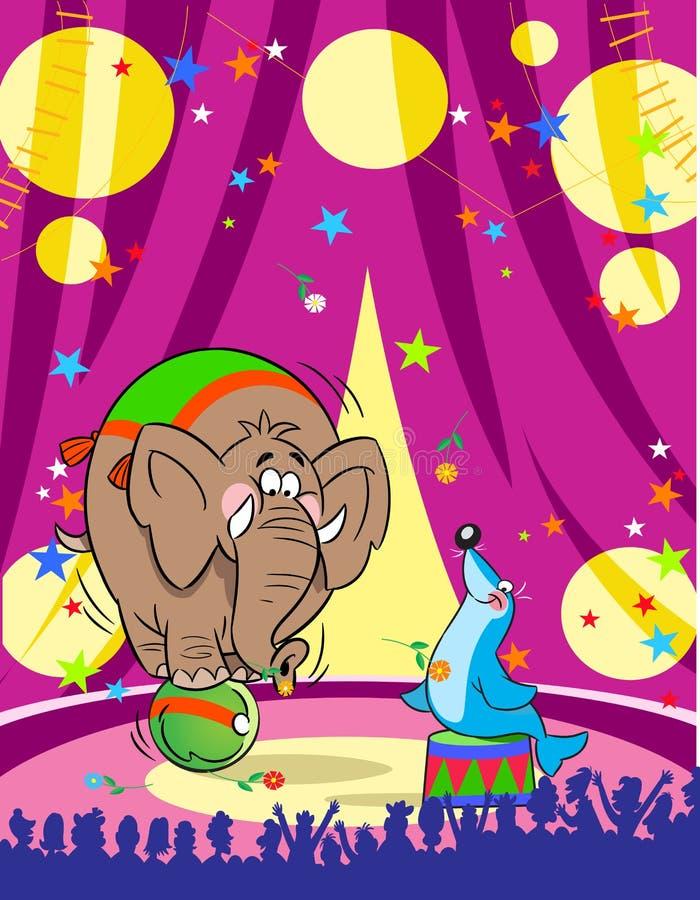 Ελέφαντας και ένας μόσχος θάλασσας τσίρκων ελεύθερη απεικόνιση δικαιώματος