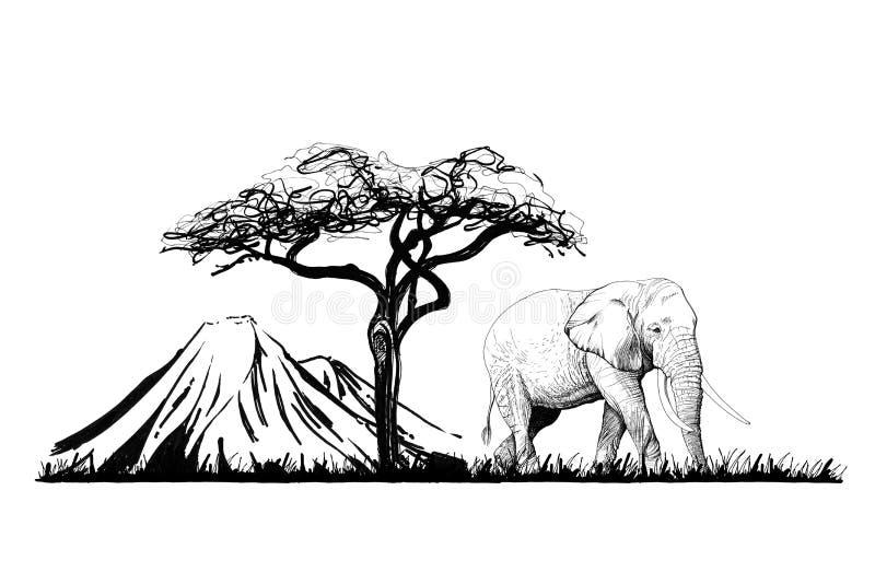 Ελέφαντας κοντά σε ένα δέντρο στο υπόβαθρο υποστηριγμάτων συρμένος εικονογράφος απεικόνισης χεριών ξυλάνθρακα βουρτσών ο σχέδιο ό ελεύθερη απεικόνιση δικαιώματος