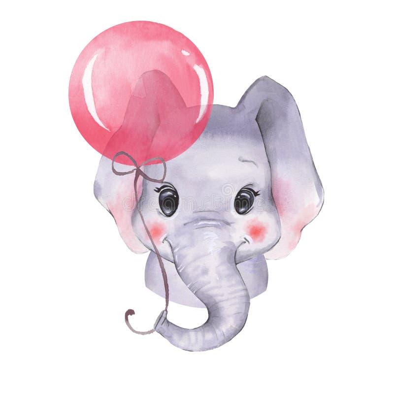 Ελέφαντας Watercolor με το μπαλόνι ελεύθερη απεικόνιση δικαιώματος