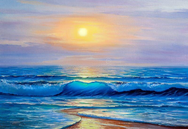 Ελαιογραφία της θάλασσας στον καμβά ελεύθερη απεικόνιση δικαιώματος