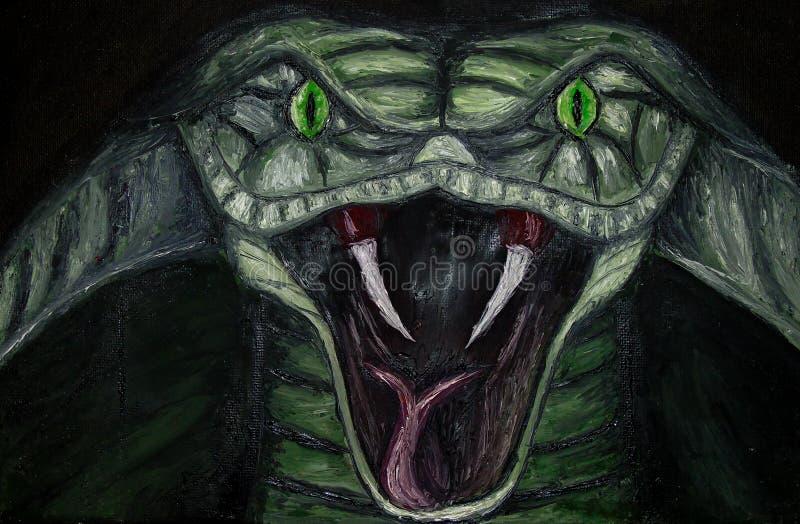 Ελαιογραφία της κινηματογράφησης σε πρώτο πλάνο ενός πράσινου απειλητικού φιδιού cobra με τα πράσινα μάτια στον καμβά, επικίνδυνο απεικόνιση αποθεμάτων