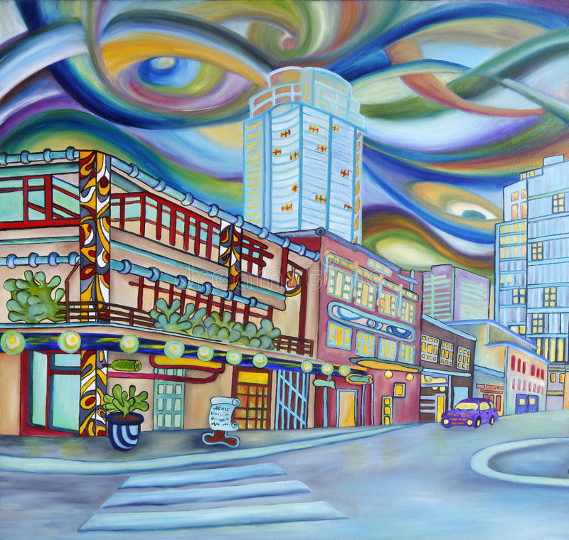 Ελαιογραφία του Σιάτλ κεντρικός. Σύγχρονη πόλη. ελεύθερη απεικόνιση δικαιώματος