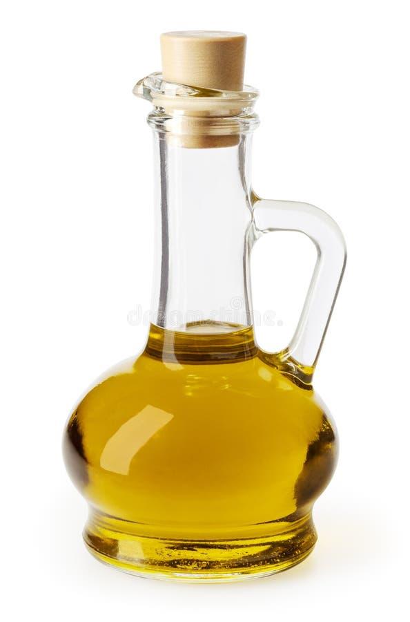 Ελαιόλαδο στο μπουκάλι γυαλιού που απομονώνεται στο λευκό στοκ φωτογραφίες