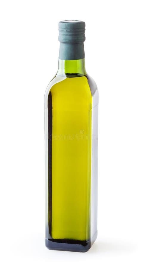 Ελαιόλαδο στο μπουκάλι γυαλιού που απομονώνεται στο λευκό στοκ εικόνες