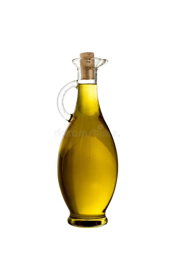 Ελαιόλαδο της Virgin σε ένα μπουκάλι γυαλιού που απομονώνεται στοκ φωτογραφίες
