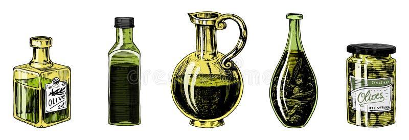 Ελαιόλαδο των δέντρων στο μπουκάλι και των βάζων με τις αυτοκόλλητες ετικέττες και τα εμβλήματα Οργανικό χορτοφάγο προϊόν Μαύρα φ ελεύθερη απεικόνιση δικαιώματος
