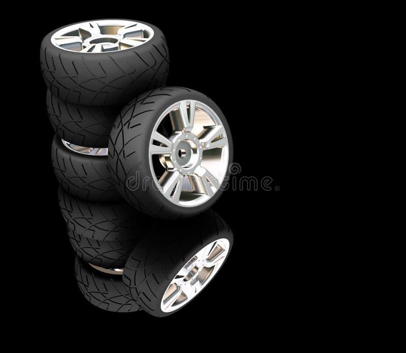 ελαστικά αυτοκινήτου αυτοκινήτων απεικόνιση αποθεμάτων