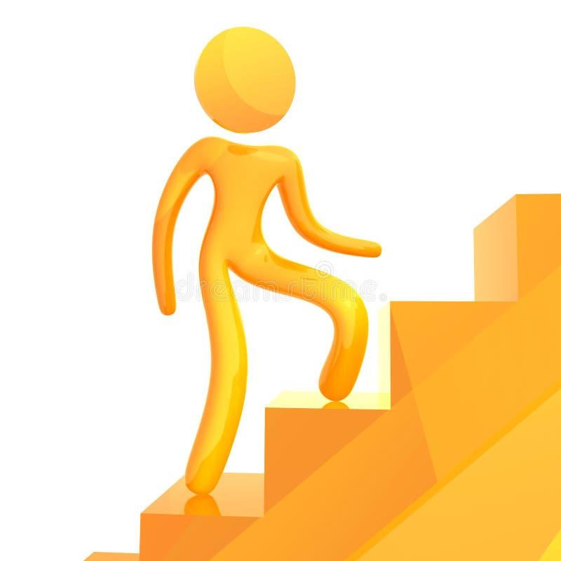 Ελαστικό κίτρινο εικονίδιο humanoid που αναρριχείται στα σκαλοπάτια ελεύθερη απεικόνιση δικαιώματος
