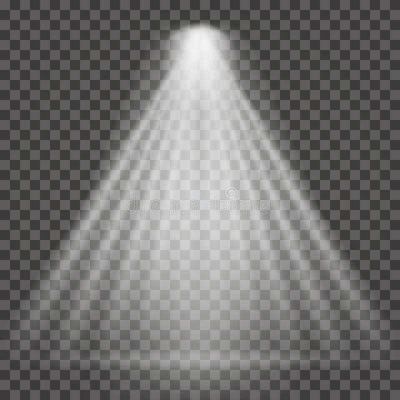 Ελαφριά ακτίνα στο διαφανές υπόβαθρο Φωτεινή ελαφριά ακτίνα επικέντρων για τον προβολέα, φωτισμός σκηνής απεικόνιση αποθεμάτων