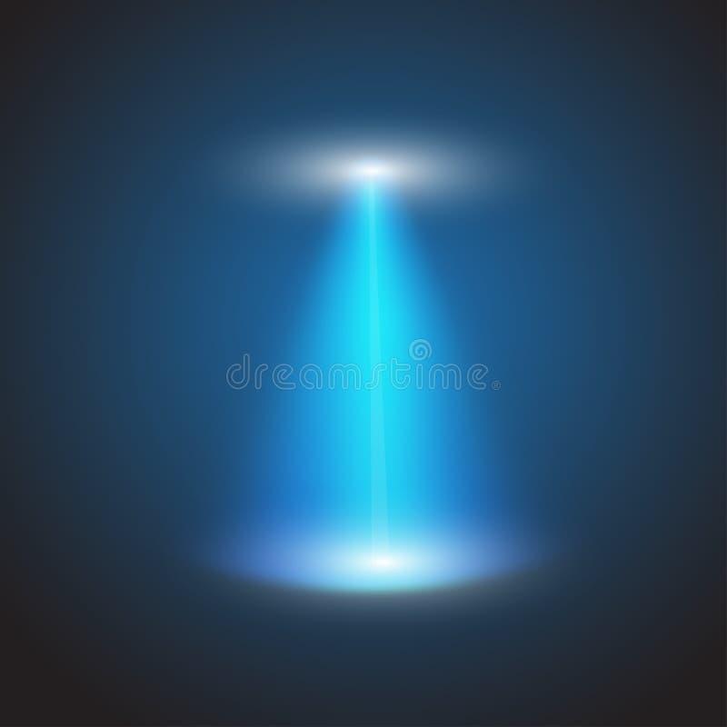 Ελαφριά ακτίνα UFO στο ελεγμένο υπόβαθρο επίσης corel σύρετε το διάνυσμα απεικόνισης διανυσματική απεικόνιση