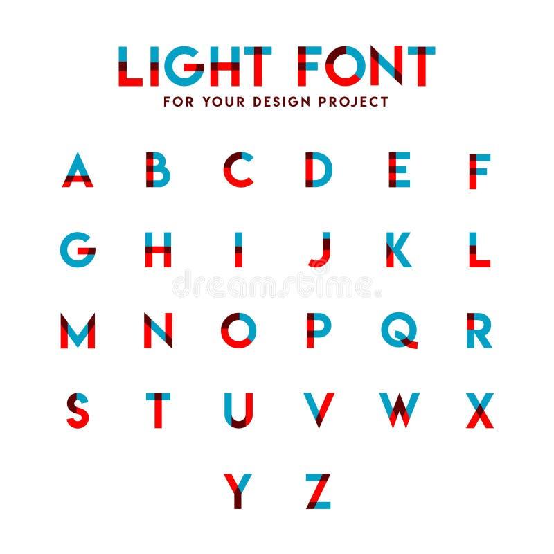 Ελαφριά απεικόνιση σχεδίου προτύπων πηγών καθορισμένη αλφαβητική διανυσματική ελεύθερη απεικόνιση δικαιώματος