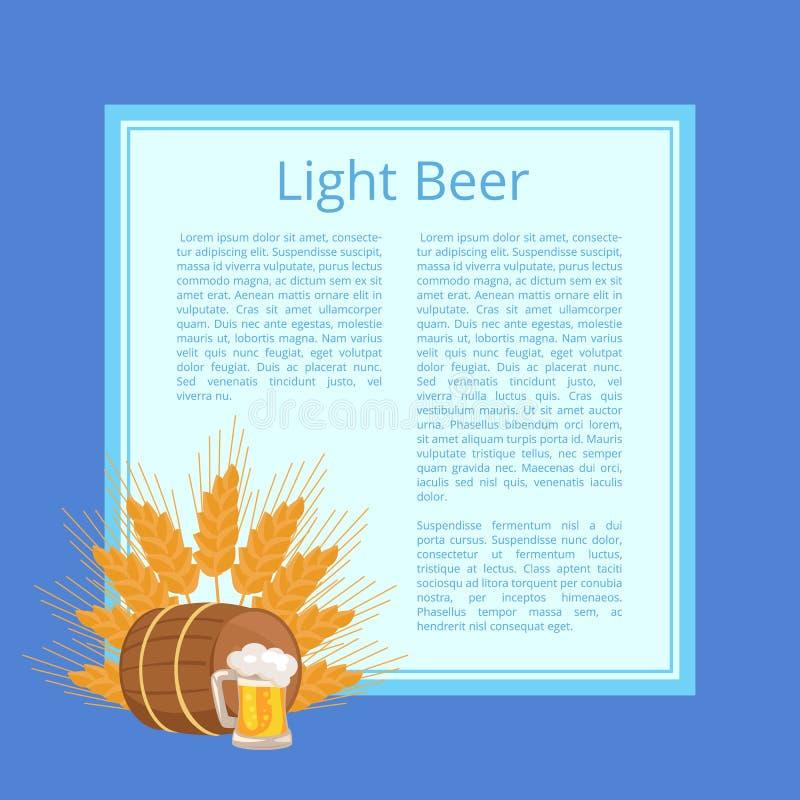 Ελαφριά αφίσα μπύρας που απεικονίζει την κούπα, το βαρέλι και τα αυτιά απεικόνιση αποθεμάτων