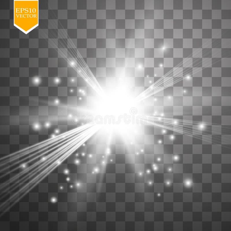 Ελαφριά επίδραση πυράκτωσης Starburst με τα σπινθηρίσματα στο διαφανές υπόβαθρο επίσης corel σύρετε το διάνυσμα απεικόνισης ελεύθερη απεικόνιση δικαιώματος