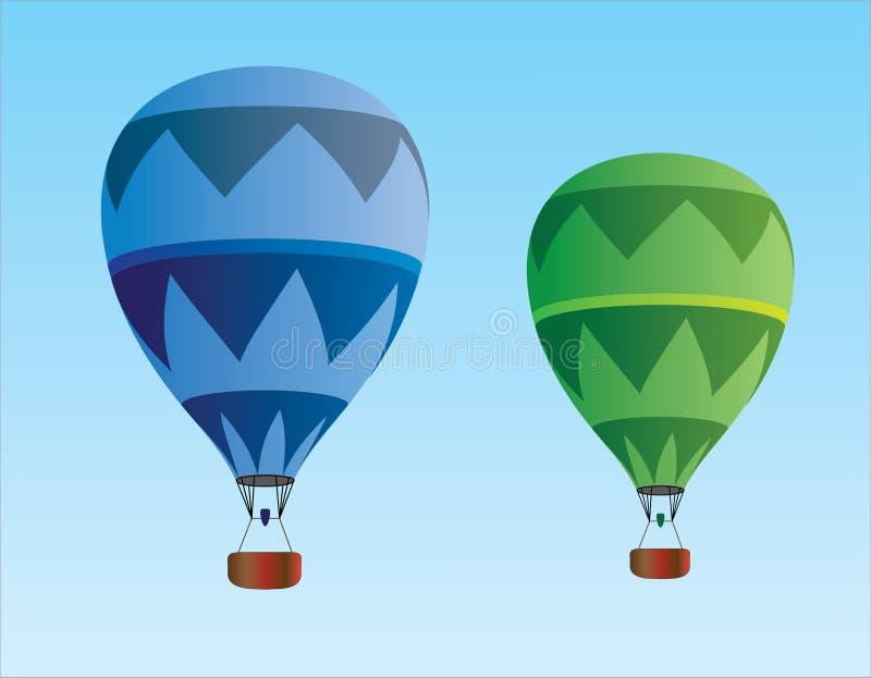 Ελαφριά και σκούρο μπλε και πράσινα μπαλόνια ζεστού αέρα για το ταξίδι στον ουρανό διανυσματική απεικόνιση