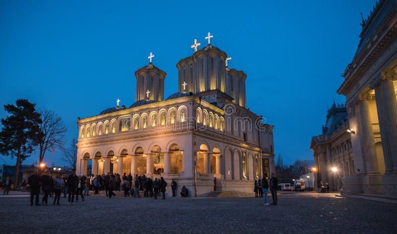 Ελαφριά πομπή Πάσχας στον πατριαρχικό καθεδρικό ναό του Βουκουρεστι'ου στοκ φωτογραφίες με δικαίωμα ελεύθερης χρήσης