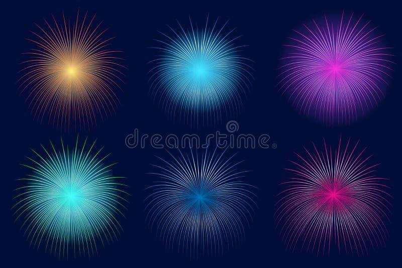 Ελαφριά πυροτεχνήματα στο σκοτεινό υπόβαθρο Αφηρημένα ζωηρόχρωμα πυροτεχνήματα για τα εμβλήματα, τις προσκλήσεις και τις ευχετήρι ελεύθερη απεικόνιση δικαιώματος