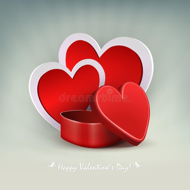Ελαφριά σύνθεση με μια κόκκινη κασετίνα και τη σκιαγραφία δύο καρδιών με άσπρα σύνορα ελεύθερη απεικόνιση δικαιώματος