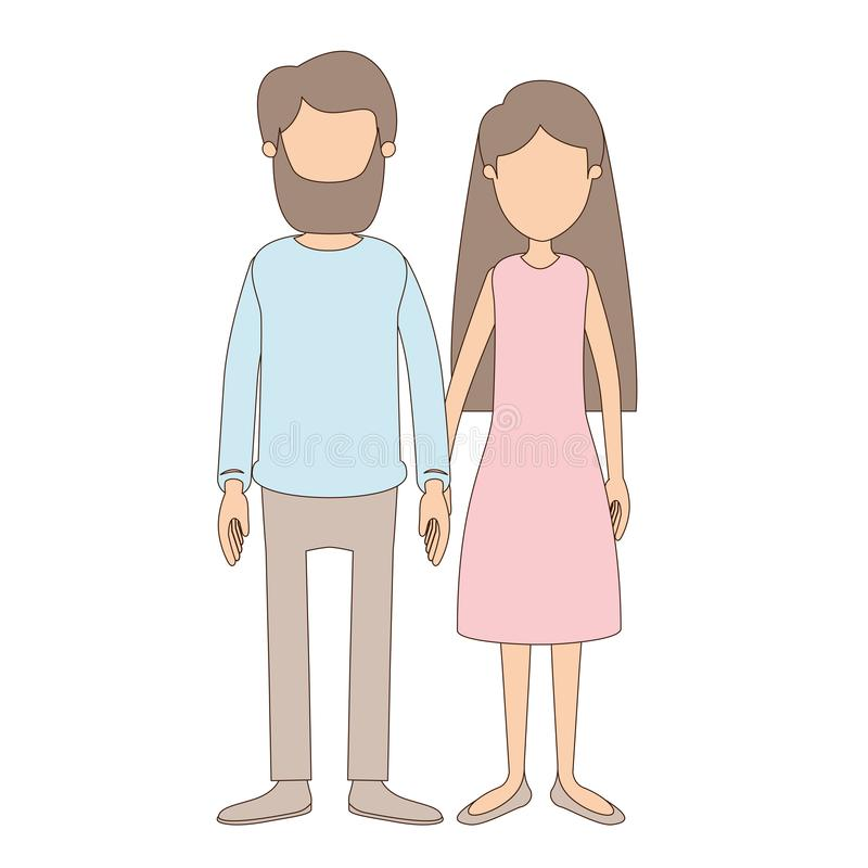 Ελαφριά χρώματος γυναίκα ζευγών σωμάτων καρικατουρών απρόσωπη πλήρης με μακρυμάλλη στο φόρεμα και τον άνδρα στον περιστασιακό ιμα ελεύθερη απεικόνιση δικαιώματος