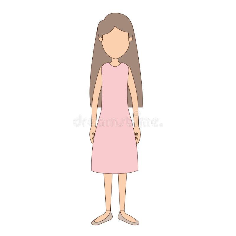 Ελαφριά χρώματος γυναίκα σωμάτων καρικατουρών απρόσωπη πλήρης με τη μακριά ευθεία τρίχα και ντυμένος ελεύθερη απεικόνιση δικαιώματος