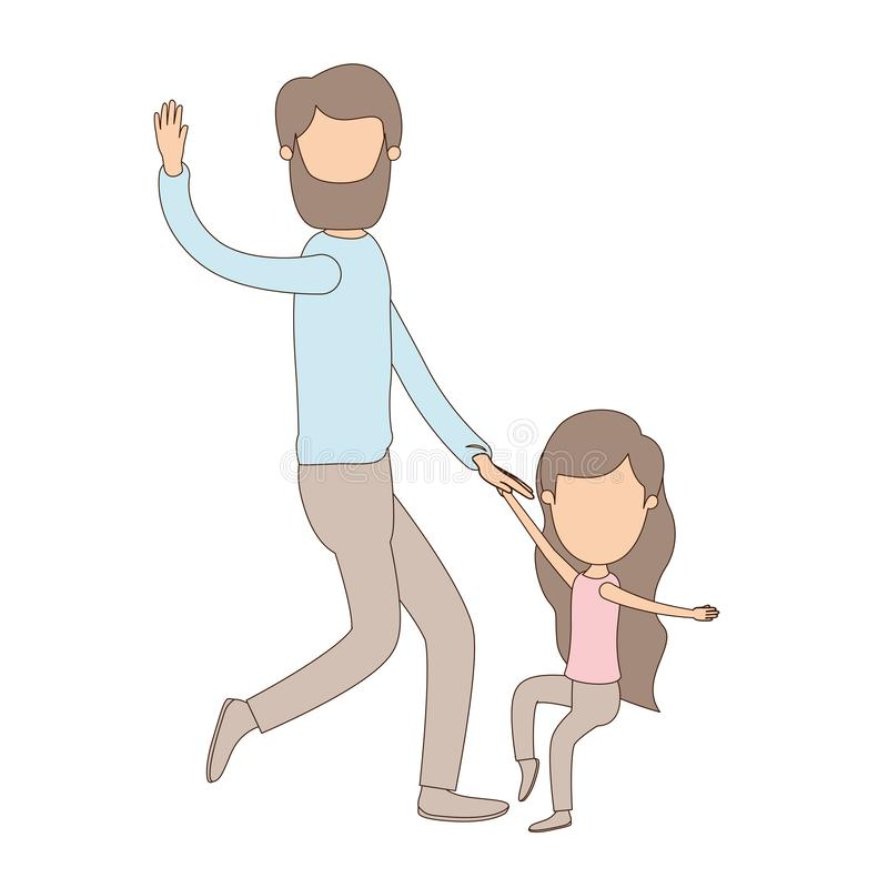 Ελαφρύς απρόσωπος γενειοφόρος πατέρας καρικατουρών χρώματος με το χορό κοριτσιών ελεύθερη απεικόνιση δικαιώματος