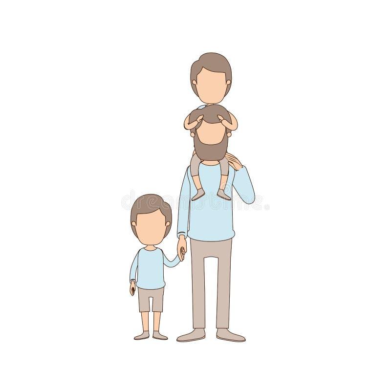 Ελαφρύς απρόσωπος γενειοφόρος πατέρας καρικατουρών χρώματος με το αγόρι σε ετοιμότητα την πλάτη και ληφθε'ντα παιδί του ελεύθερη απεικόνιση δικαιώματος