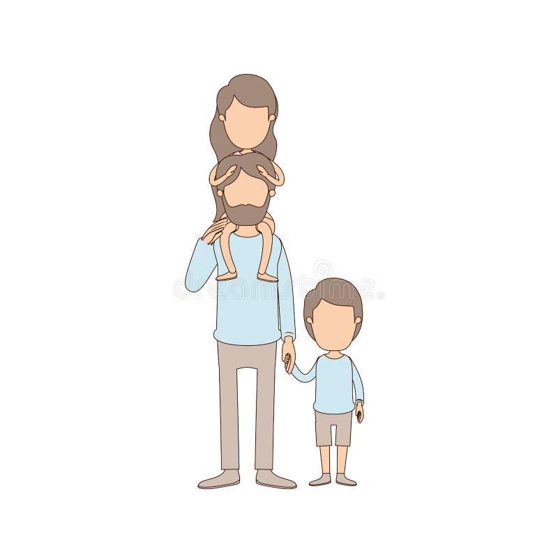Ελαφρύς απρόσωπος γενειοφόρος πατέρας καρικατουρών χρώματος με το κορίτσι σε ετοιμότητα την πλάτη και ληφθε'ντα αγόρι του απεικόνιση αποθεμάτων