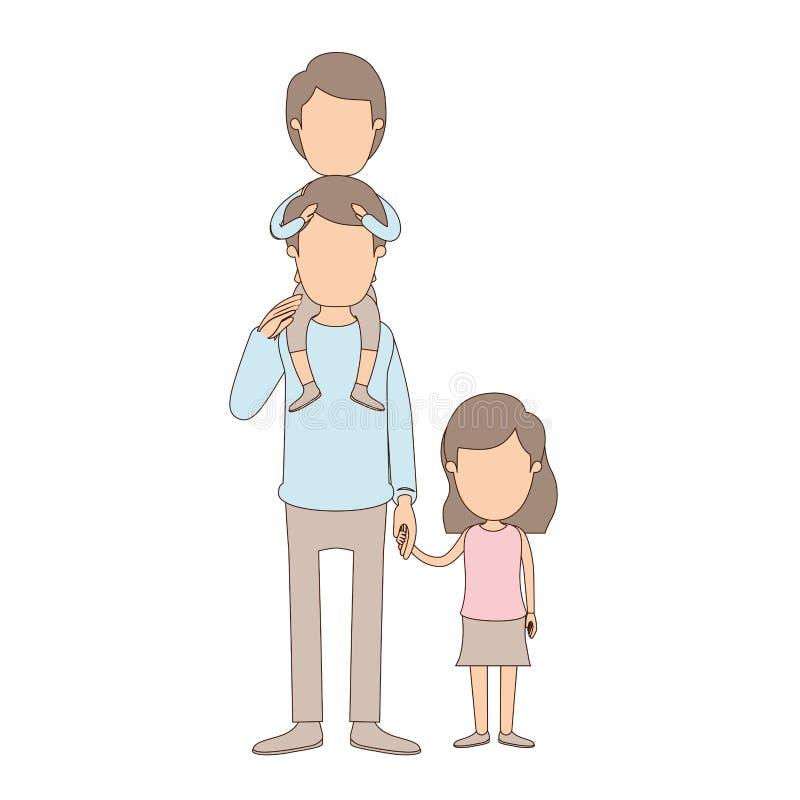 Ελαφρύς απρόσωπος μπαμπάς καρικατουρών χρώματος με το αγόρι σε ετοιμότητα την πλάτη και ληφθε'ντα κορίτσι του απεικόνιση αποθεμάτων