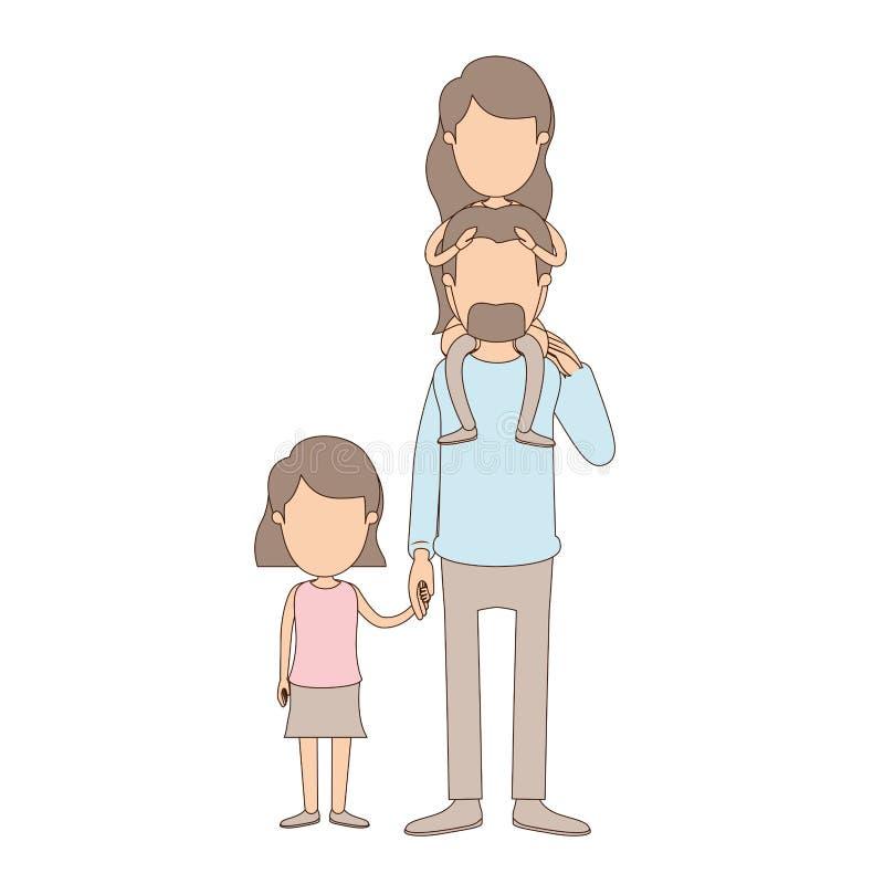 Ελαφρύς απρόσωπος μπαμπάς καρικατουρών χρώματος με το daugther σε ετοιμότητα την πλάτη και ληφθε'ντα κορίτσι του διανυσματική απεικόνιση