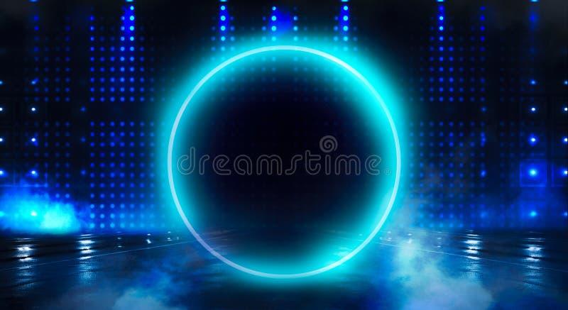 Μπλε υπόβαθρο Ελαφρύς κύκλος σφαιρών νέου Άποψη νύχτας μιας σκοτεινής, μπλε κενής σκηνής στοκ εικόνα