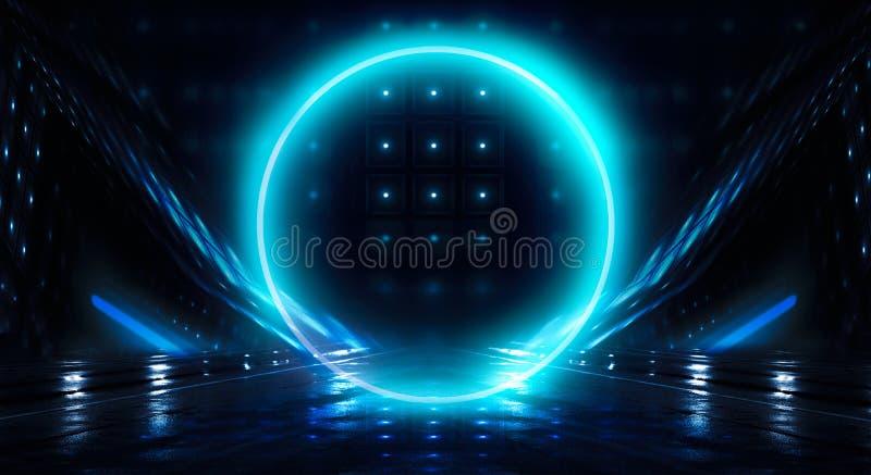 Μπλε υπόβαθρο Ελαφρύς κύκλος σφαιρών νέου Άποψη νύχτας μιας σκοτεινής, μπλε κενής σκηνής στοκ φωτογραφίες