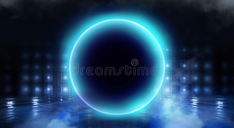 Μπλε υπόβαθρο Ελαφρύς κύκλος σφαιρών νέου Άποψη νύχτας μιας σκοτεινής, μπλε κενής σκηνής στοκ φωτογραφίες με δικαίωμα ελεύθερης χρήσης