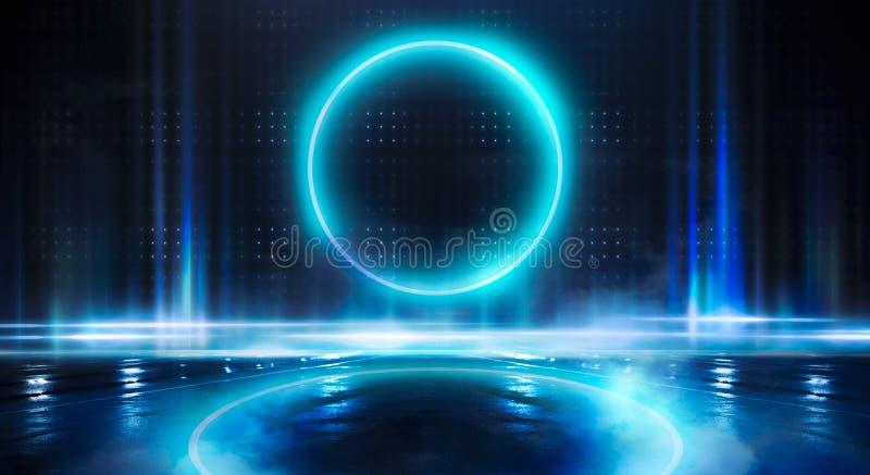 Μπλε υπόβαθρο Ελαφρύς κύκλος σφαιρών νέου Άποψη νύχτας μιας σκοτεινής, μπλε κενής σκηνής στοκ εικόνα με δικαίωμα ελεύθερης χρήσης