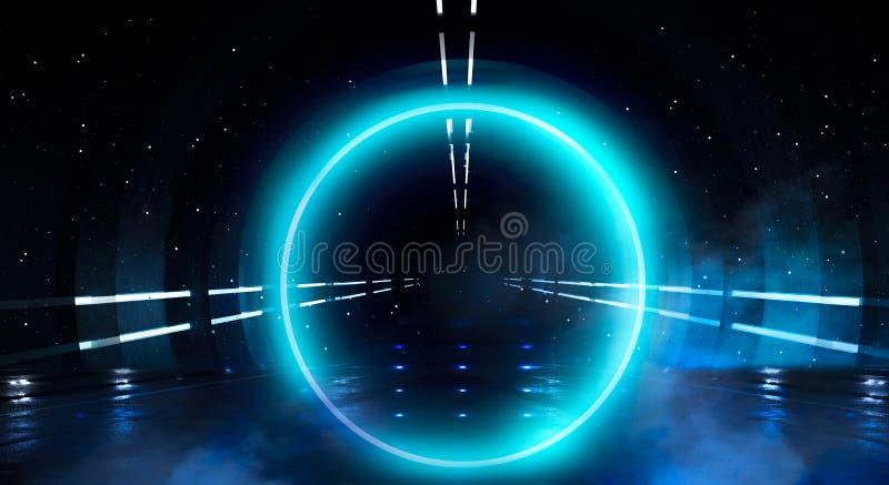 Μπλε υπόβαθρο Ελαφρύς κύκλος σφαιρών νέου Άποψη νύχτας μιας σκοτεινής, μπλε κενής σκηνής στοκ φωτογραφία με δικαίωμα ελεύθερης χρήσης