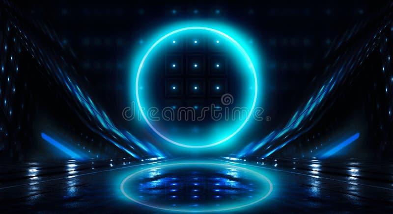Μπλε υπόβαθρο Ελαφρύς κύκλος σφαιρών νέου Άποψη νύχτας μιας σκοτεινής, μπλε κενής σκηνής στοκ εικόνες με δικαίωμα ελεύθερης χρήσης