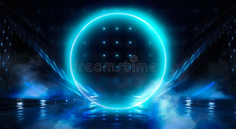 Μπλε υπόβαθρο Ελαφρύς κύκλος σφαιρών νέου Άποψη νύχτας μιας σκοτεινής, μπλε κενής σκηνής στοκ εικόνες