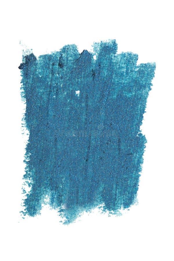 Ελαφρύς χλωμός - τα μπλε κτυπήματα μολυβιών eyeliner χρώματος καλλυντικά με ακτινοβολούν μόρια, δείγμα προϊόντων ομορφιάς που απο στοκ εικόνες